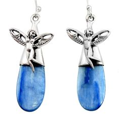 16.87cts natural blue kyanite 925 silver angel wings fairy earrings d45771