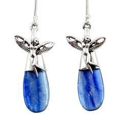 Clearance Sale- 17.95cts natural blue kyanite 925 silver angel wings fairy earrings d45773
