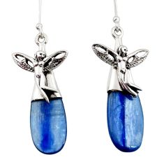 16.85cts natural blue kyanite 925 silver angel wings fairy earrings d45774