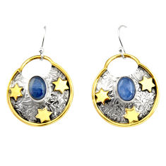 4.49cts natural blue kyanite 925 sterling silver 14k gold dangle earrings r19936
