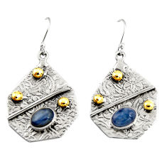 3.21cts natural blue kyanite 925 sterling silver 14k gold dangle earrings r19939