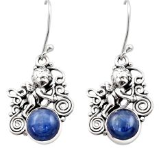 Clearance Sale- 6.89cts natural blue kyanite 925 sterling silver angel earrings jewelry d40822