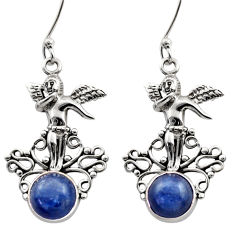 Clearance Sale- 6.26cts natural blue kyanite 925 sterling silver angel earrings jewelry d40830