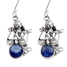 Clearance Sale- 6.62cts natural blue kyanite 925 sterling silver angel earrings jewelry d40832