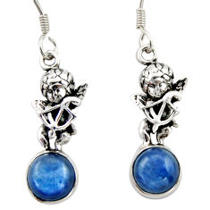 8.05cts natural blue kyanite 925 sterling silver angel earrings jewelry d46790