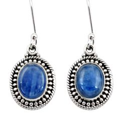Clearance Sale- 7.54cts natural blue kyanite 925 sterling silver dangle earrings jewelry d40630