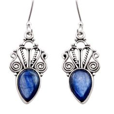 7.82cts natural blue kyanite 925 sterling silver dangle earrings jewelry d40824