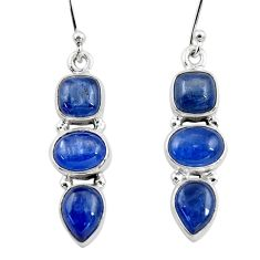 11.34cts natural blue kyanite 925 sterling silver dangle earrings jewelry r47225