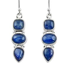 11.27cts natural blue kyanite 925 sterling silver dangle earrings jewelry r47229