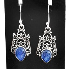 3.91cts natural blue kyanite 925 sterling silver dangle earrings jewelry t2525