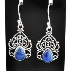 4.18cts natural blue kyanite 925 sterling silver dangle earrings jewelry t2529