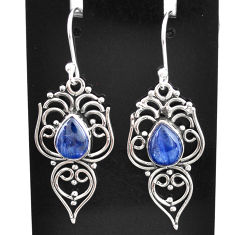 4.28cts natural blue kyanite 925 sterling silver dangle earrings jewelry t2537