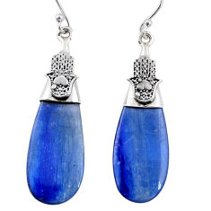 15.08cts natural blue kyanite 925 sterling silver earrings jewelry r57841