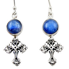 7.54cts natural blue kyanite 925 sterling silver holy cross earrings d46781