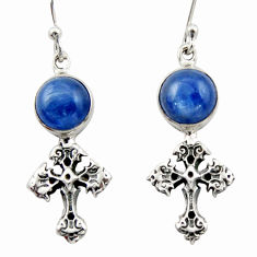 7.33cts natural blue kyanite 925 sterling silver holy cross earrings d46782