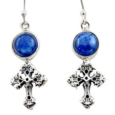 7.00cts natural blue kyanite 925 sterling silver holy cross earrings d46783
