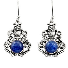 Clearance Sale- 6.42cts natural blue kyanite 925 sterling silver owl earrings jewelry d40826