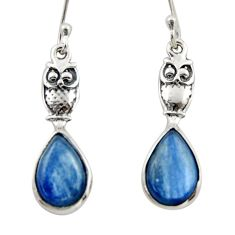 5.90cts natural blue kyanite 925 sterling silver owl earrings jewelry d46792