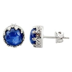 6.61cts natural blue kyanite 925 sterling silver stud earrings jewelry r37622
