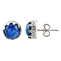 6.19cts natural blue kyanite 925 sterling silver stud earrings jewelry r37629