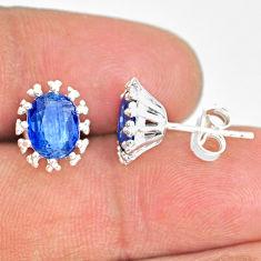 3.89cts natural blue kyanite 925 sterling silver handmade stud earrings r82889
