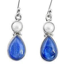 11.20cts natural blue kyanite pearl 925 sterling silver dangle earrings t2587