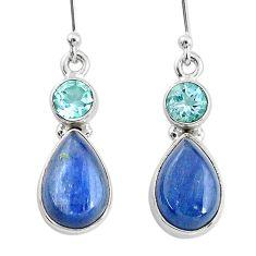 11.20cts natural blue kyanite topaz 925 sterling silver dangle earrings t2581
