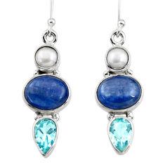 14.31cts natural blue kyanite topaz pearl 925 silver dangle earrings r47207