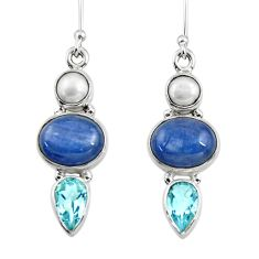 14.10cts natural blue kyanite topaz pearl 925 silver dangle earrings r47211
