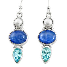 14.77cts natural blue kyanite topaz pearl 925 silver dangle earrings r47213