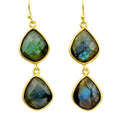19.29cts natural blue labradorite 925 silver 14k gold dangle earrings r31633