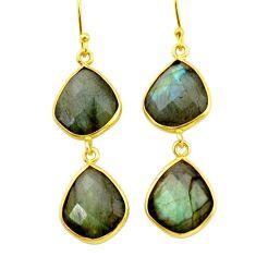 19.68cts natural blue labradorite 925 silver 14k gold dangle earrings r31634