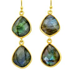 19.29cts natural blue labradorite 925 silver 14k gold dangle earrings r31636