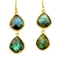 19.29cts natural blue labradorite 925 silver 14k gold dangle earrings r31637
