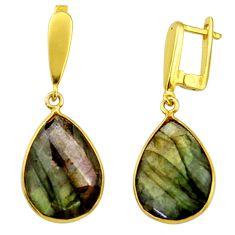 18.12cts natural blue labradorite 925 silver 14k gold dangle earrings r31675