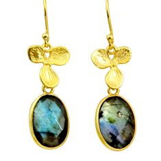12.22cts natural blue labradorite 925 silver 14k gold dangle earrings r31692