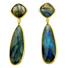 26.85cts natural blue labradorite 925 silver 14k gold dangle earrings r31734
