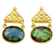 15.32cts natural blue labradorite 925 silver 14k gold dangle earrings r31779