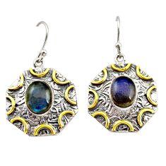 6.55cts natural blue labradorite 925 silver 14k gold dangle earrings r37199