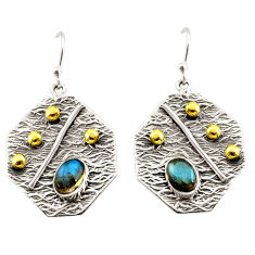 3.51cts natural blue labradorite 925 silver 14k gold dangle earrings r37237