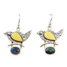4.21cts natural blue labradorite 925 silver 14k gold dangle earrings r37258