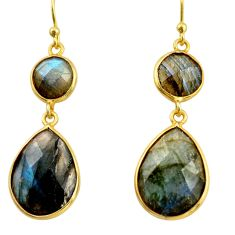15.86cts natural blue labradorite 925 silver 14k gold dangle earrings r38493