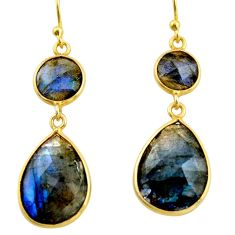 14.12cts natural blue labradorite 925 silver 14k gold dangle earrings r38495