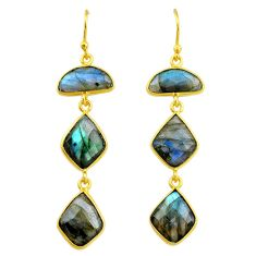 16.07cts natural blue labradorite 14k gold handmade dangle earrings t11396
