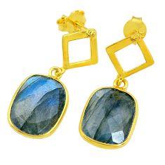 9.22cts natural blue labradorite 14k gold handmade dangle earrings t11459