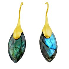 14.72cts natural blue labradorite 925 silver 14k gold dangle earrings t44094