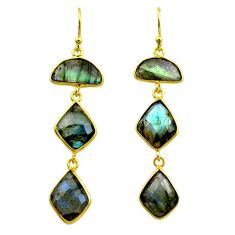14.06cts natural blue labradorite 925 silver 14k gold dangle earrings t44160