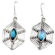 5.31cts natural blue labradorite 925 silver spider web earrings jewelry r67878