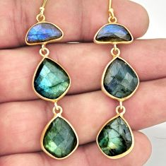 25.83cts natural blue labradorite 925 sterling silver 14k gold earrings r38539