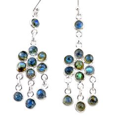 13.67cts natural blue labradorite 925 sterling silver chandelier earrings r35612